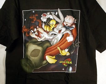 90s Deadstock Space Jam Movie Shirt Youth XL Adult Medium WB 1990s Alien  Monster Michael Jordan MJ Basketball Looney Tune Squad Animated Pro f2b5fa36d