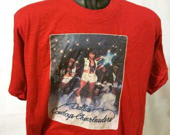 8a672ad2e 70s Dallas Cowboys Cheerleaders Cowgirls Red T-Shirt Size S M Small Medium  NFL Football Texas Midwest NCAA Pom Retro 1970s Hot Pants 1977