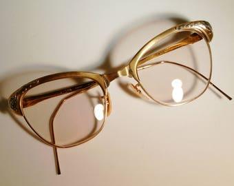 ca32e7fe9d2 1960s Bishop 12KT 1 20 GF Gold Filled Cat Eye Glasses Rx Eyeglasses Frames  Silver Floral Embellishment 50s Retro Pinup Classic Feminine