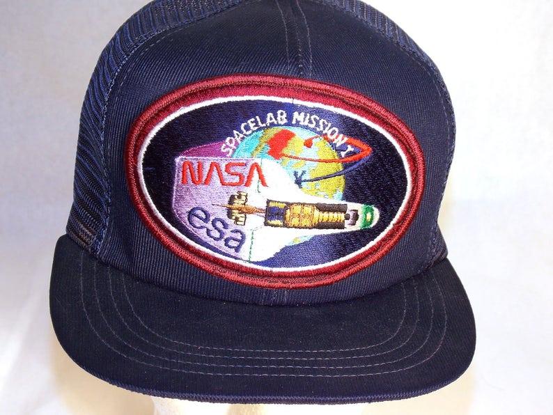 c08f63e35eb Vintage NASA Spacelab Mission ESA Snapback Trucker Hat 80s
