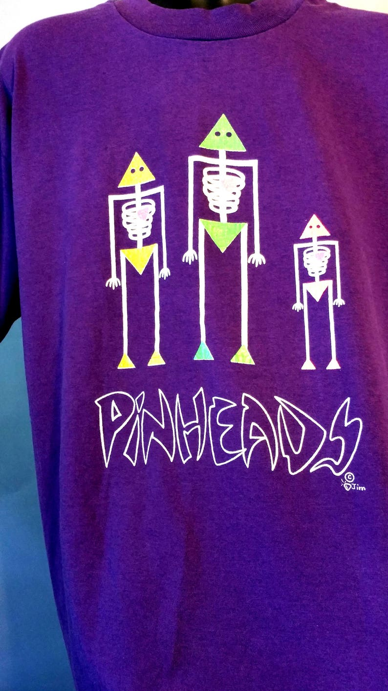 RARE 80s The Pinheads Purple Graphic Band T-Shirt 1980s Neon Skeleton 50/50  Cotton Poly Soft Tee Adult Large