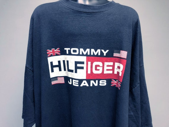 Tommy Hilfiger Vintage 90s Flag Logo Men's Black Hip Hop