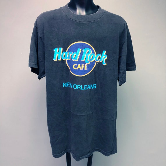 80s Hard Rock Cafe New Orleans NOLA Black Graphic Tee Short Sleeve Sz Large XL Neon Louisiana Retro 1980s Rare Southern South Blues Faded