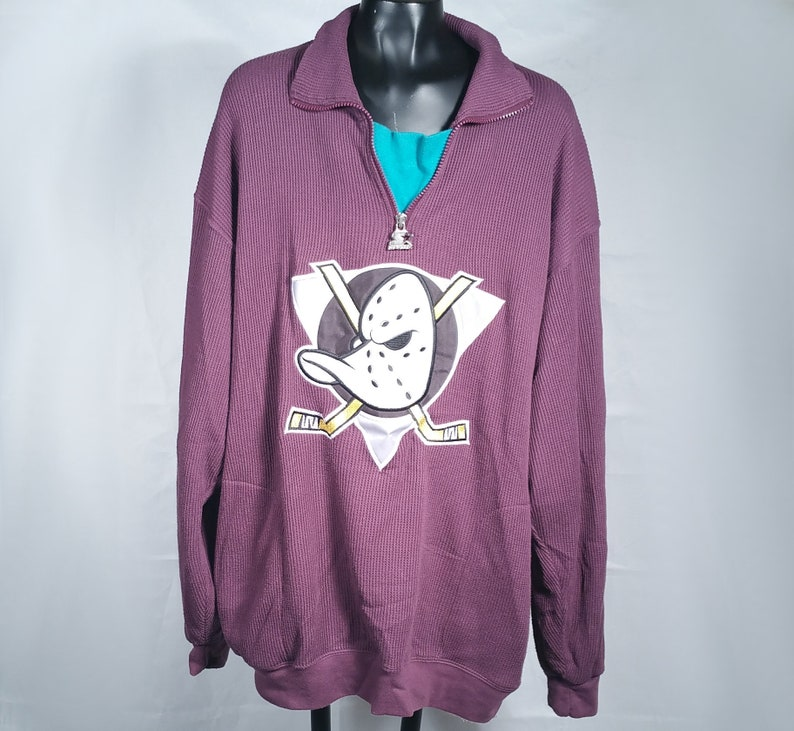 52988e8e667742 90s Mighty Ducks Starter Waffle Knit Pullover Size XL X-Large