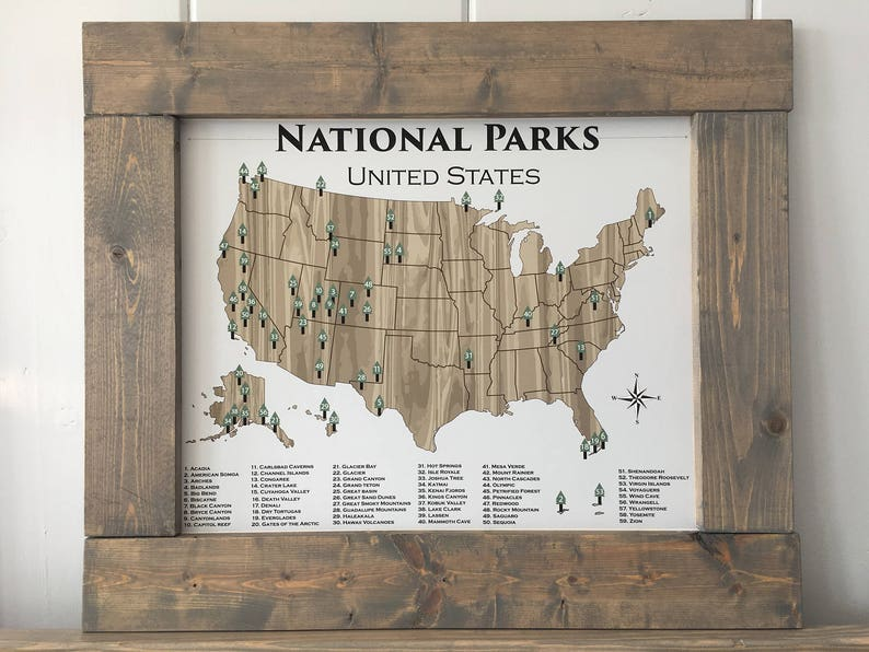 National Park Poster National Parks Poster Adventure Map | Etsy