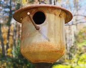 Handmade ceramic birdhouse, Meadowgold Cottage