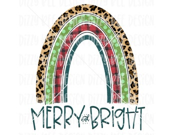 Christmas Sublimation Transfer, Ready to Press Sublimation Transfer, Christmas Rainbow Sublimation Transfer, Rainbow Merry and Bright, Leopa