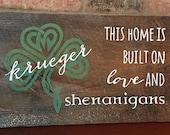 "Irish hand painted sign ""shenanigans"""