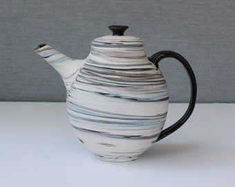 handmade by Jason Hooper Pottery 40oz Ceramic vaulted teapot with gray and white glazes