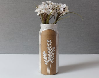 Handmade Tall Ceramic Flower vase,  Speckled, White modern pottery, Wheat Rustic Vase, Minimalistic, Neutral Colors, Mothers Day Gift
