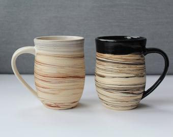 EARTH Handmade Pottery Mug, Marbled Mug, Agatware, Ceramic Coffee Mug, Stylish Mug, Modern Pottery, Boho, Comfort, Light, Gift for Her/Him
