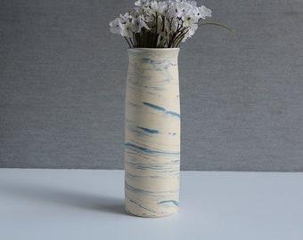 Handmade ceramic flower vase- SKY Vase, MinimalistPottery Flower Vase, Blue-White Vase, White Modern Elegant Vase, Pottery Gift