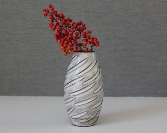 White ceramic flower vase, Small handmade flower vase, White modern pottery, Gift for her