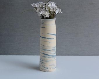 Handmade ceramic flower vase- SKY Vase, MinimalistPottery Flower Vase, Blue-White Vase, White Modern Elegant Vase, Pottery Gift for Mom