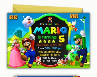 Super Mario Invitation Birthday Printable Party Invite