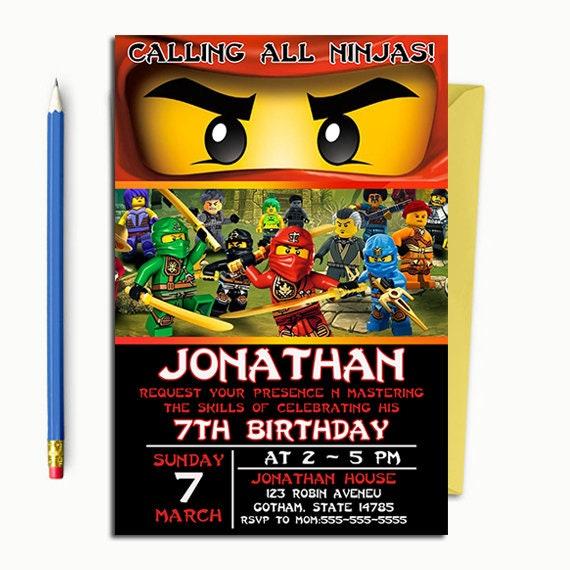 Ninjago Invitation Ninja Invitation Ninjago Birthday Etsy