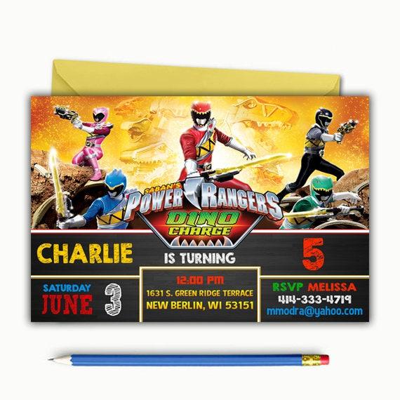 Power Ranger Invitation Power Ranger Birthday Invitation Etsy