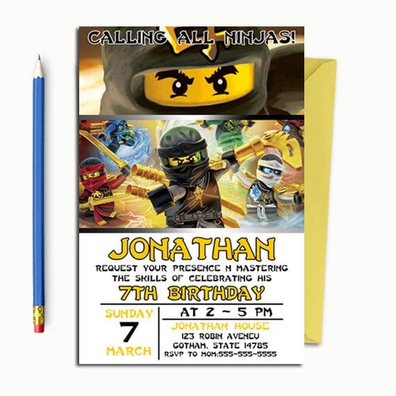 Ninjago Zaproszenie Ninjago Urodziny Ninjago Urodziny Etsy