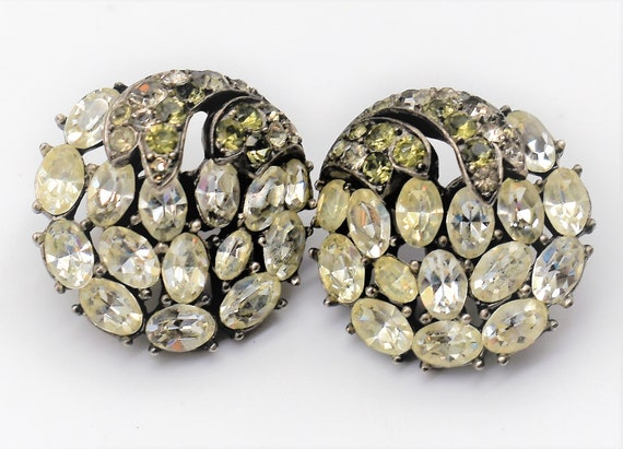 Crown Trifari Rhinestone Earrings - image 1