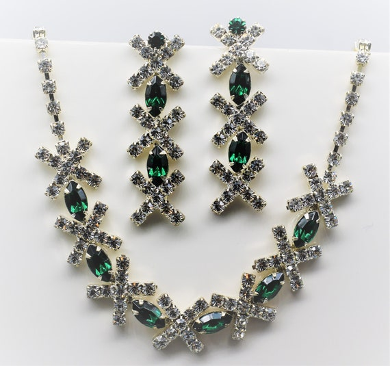 Emerald Rhinestone Necklace Earring Set