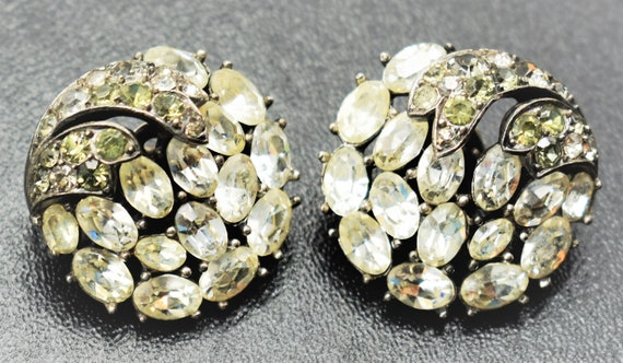Crown Trifari Rhinestone Earrings - image 8