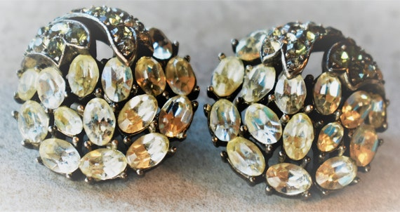Crown Trifari Rhinestone Earrings - image 4