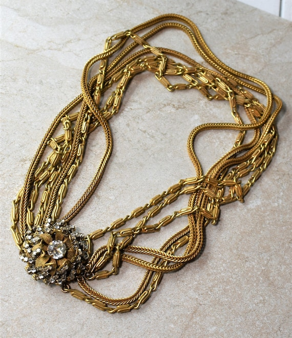 Miriam Haskell Multi Chain Necklace - image 1