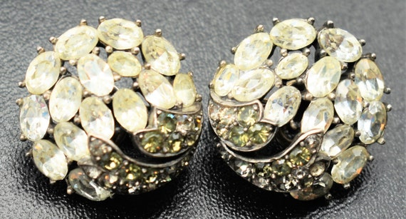 Crown Trifari Rhinestone Earrings - image 6