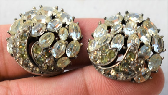 Crown Trifari Rhinestone Earrings - image 3