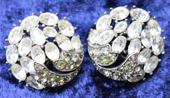 Crown Trifari Rhinestone Earrings - image 2