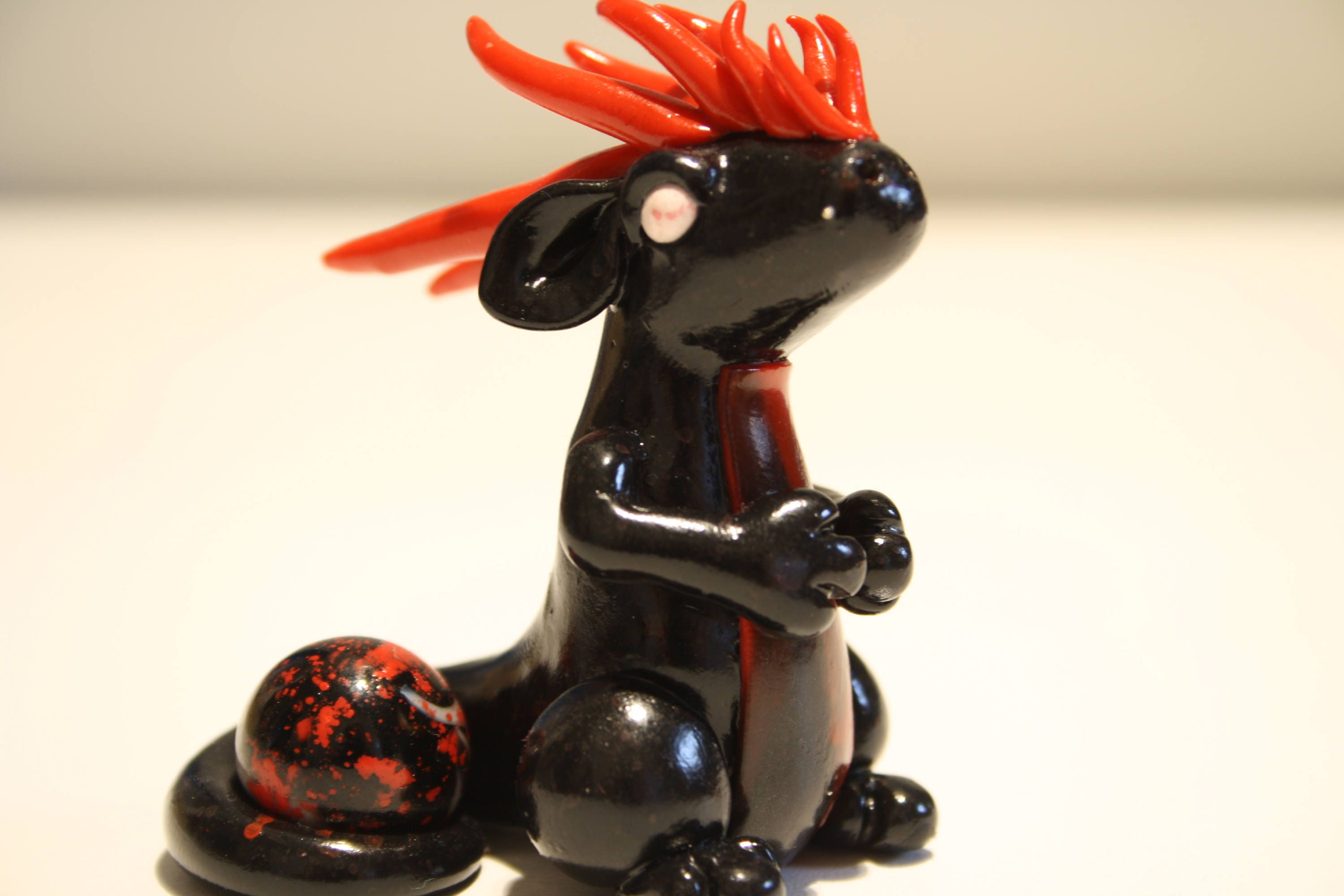 Red And Black Polymer Clay Dragon Sculpture