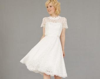 4e213ce4f0 Short wedding dress Knee length gown boho wedding dress Simple Wedding gown Bridal  Dresses  Lace bridal dress Off white dress  Corset gown