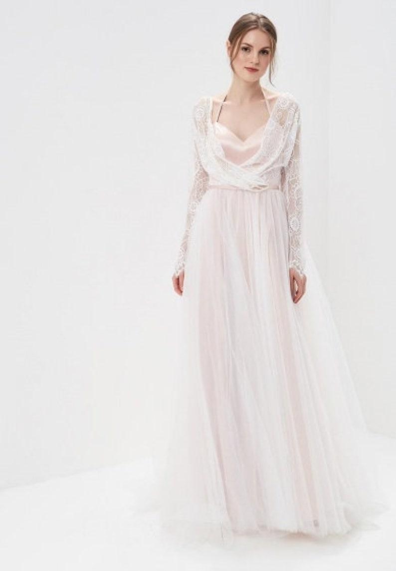 Jurk Bruiloft Roze.Boho Wedding Dress Roze Bruiloft Jurk Vintage Bruiloft Etsy