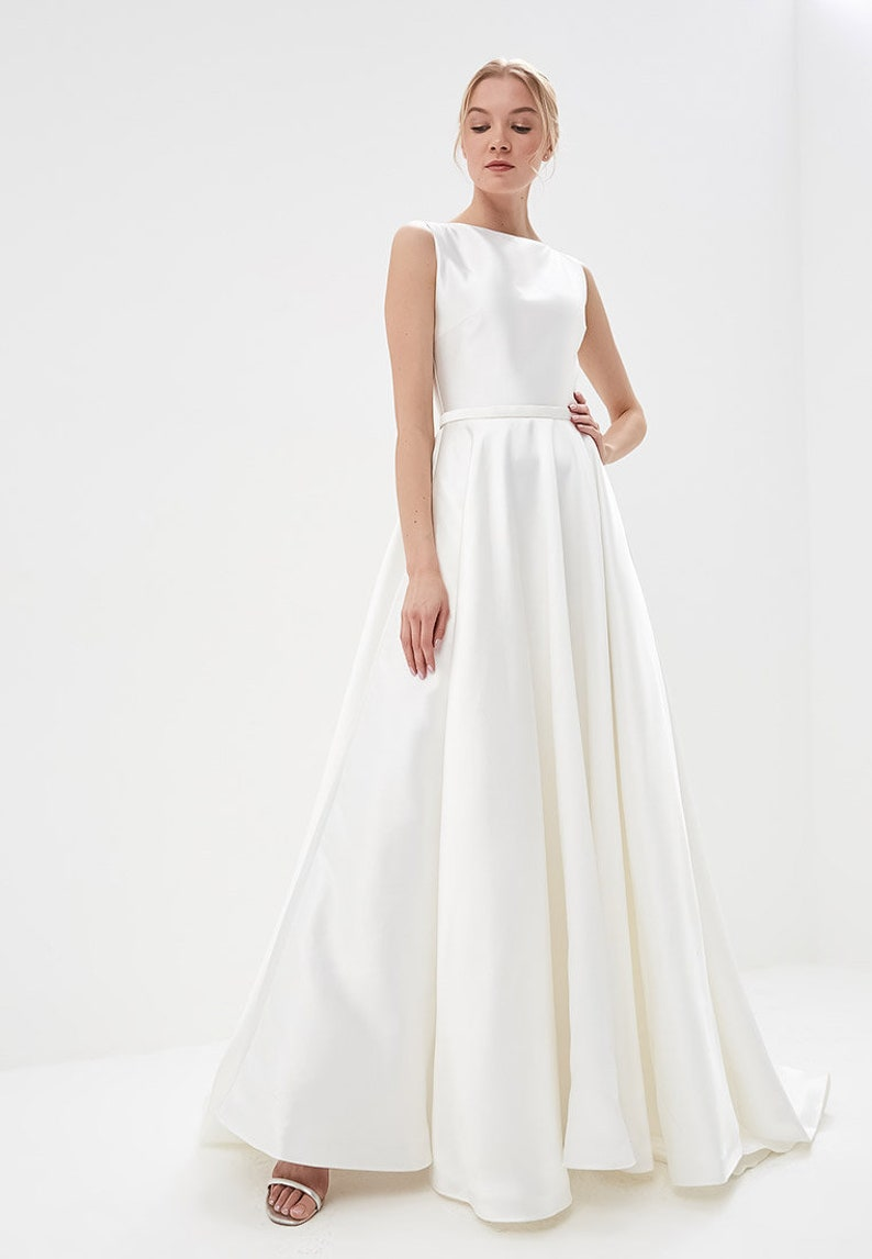 New Collection 2019 Satin Wedding Dress Simple Classic Gown A Line Skirt With Train Bohemian Wedding Dress Simple Modest Wedding Dress