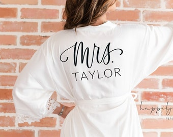 White lace satin bride robe- bridal getting ready robe- personalized wedding day robe bride to be- gift for bride- mrs robe bridal shower