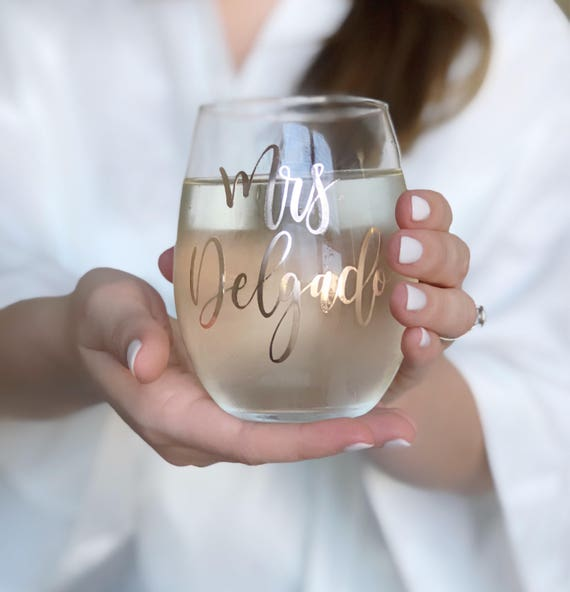 Wifey Wine Glass Rose Gold 15 oz Stemless Wine Glass Bridal Shower and Wedding Gift
