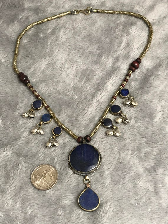 Beautiful Afghan Lapis Lazuli Stone With Tibeten Gold Gulied Carved Beads Necklace