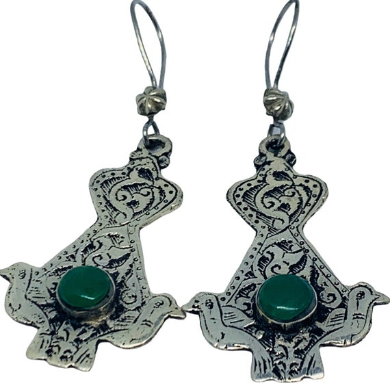 Art Deco Emerald Earrings - Afghan Emerald Drop Ea