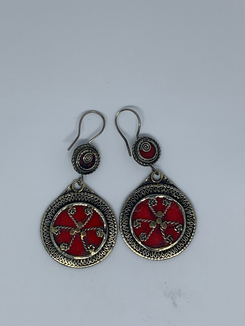 Afghan Handmade.Ethnic stone Tribal boho Nomadic Jewelry Turquoise Earring-vintage Style Coral Earring-red Stone Earring