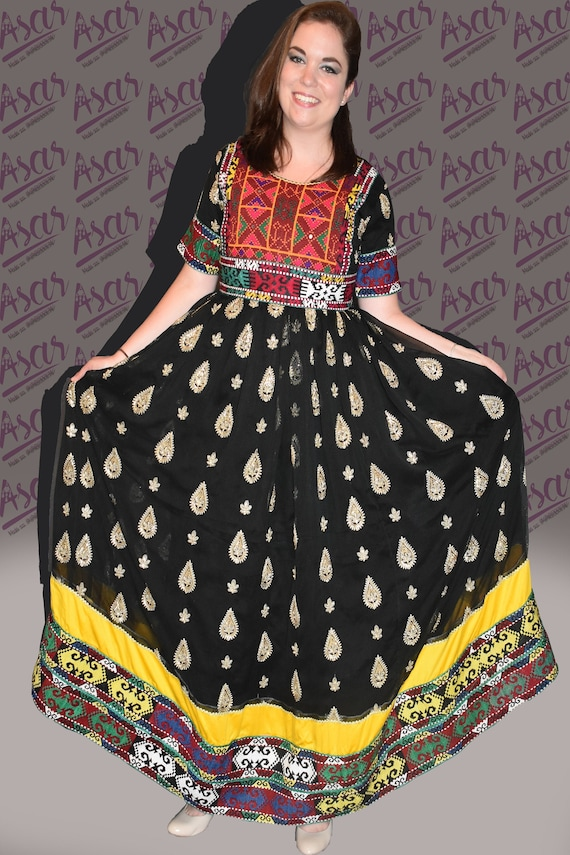 Black Gand Afghani Tribal Kuchi Vintage Dress with Beautiful Embroidery