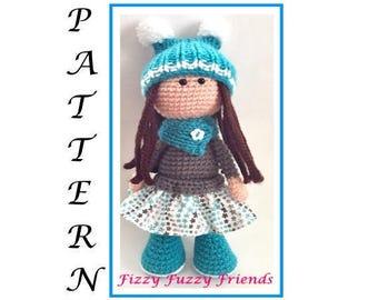 Amigurumi doll pattern, crochet doll pattern, pdf pattern, doll pattern