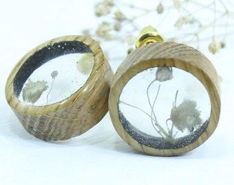 Earrings studs with flower, wood earrings, minimalist earrings, boho jewelry, statement earrings