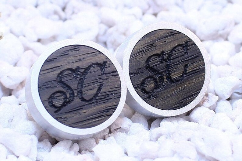 Personalized wooden cuff links for groom Engraving cufflinks for wedding with initials or date