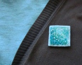 Square Felt Brooch Bead Embroidery Teal Turquoise Sparkly Matte Broach Minimalist Pin Needle Felt Geometry Soft Light Jewellery For Sweater