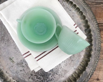 Two Jadeite Fire King Jane Ray Teacups and Saucers - Vintage 1960s Farmhouse Kitchen Decor - FREE U.S. SHIPPING!