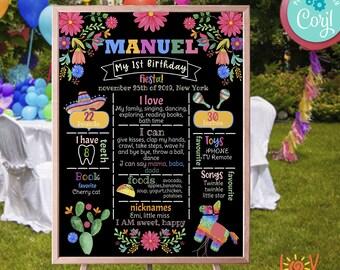 Fiesta First Birthday Chalkboard Sign First Fiesta birthday party chalkboard sign Mexican Fiesta sign 1st Birthday Printable Sign