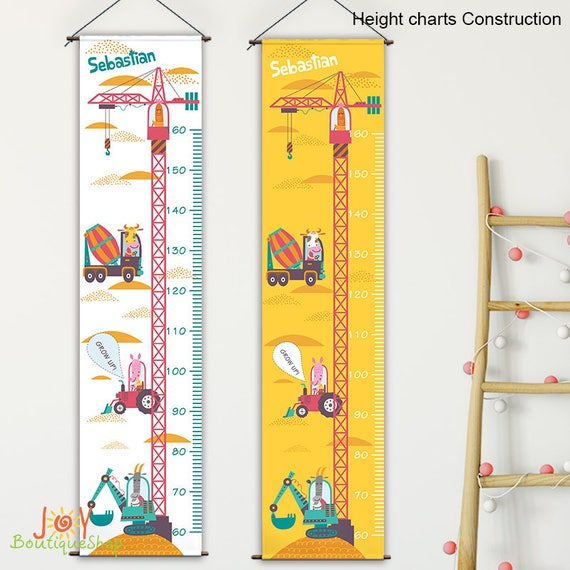 Growth Chart Construction Personalized Growth Chart Kids Etsy