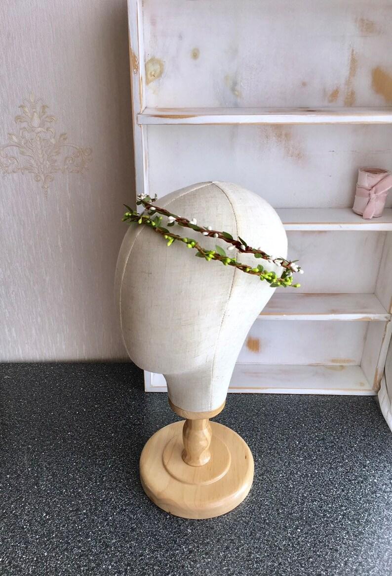 Greenery flower crown  whimsical greenery wreath Flower girl crown Greenery halo Boho leaf crownBridal headpiece Bridal hair accessory