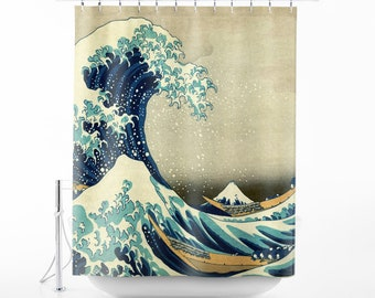 Hokusai The Great Wave Off Kanagawa Shower Curtain Art Bathroom Decor Bath SC HOK 01