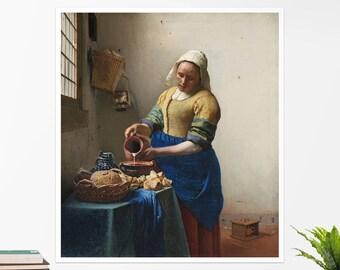 "Johannes Vermeer, ""The Milkmaid"". Art poster, art print, rolled canvas, art canvas, wall art, wall decor"